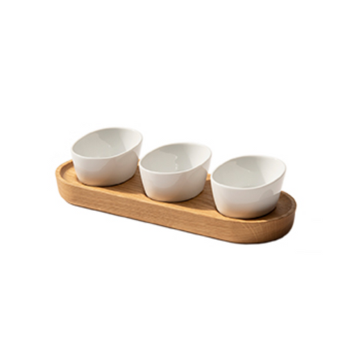 Oak Porcelain condiment set