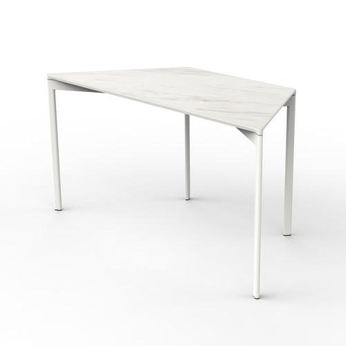 White Marble Trapezoid Table