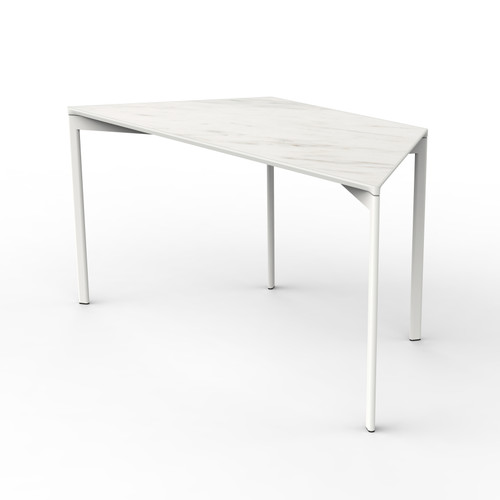 White Marble Trapezoid Table