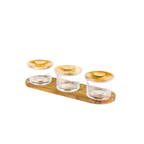 Oak Mini Glass Jar set
