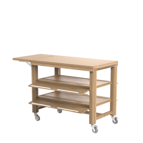 Oak Double Trolley with 2 Shelves