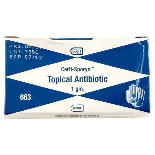 Certi Sporyn Antibiotic Cream, 1 gm., 10 pack