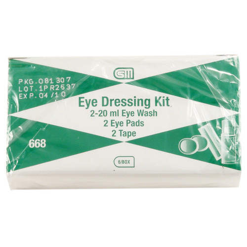 Eye Dressing Kit, Eye Wash, Eye Pads & Tape Pack of 6