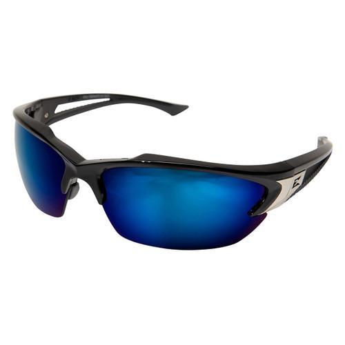 Edge Khor Safety Glasses with Black Frame - Blue Mirror Lens