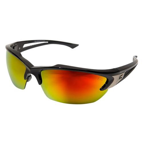 Edge Khor Safety Glasses with Black Frame - Red Mirror Lens