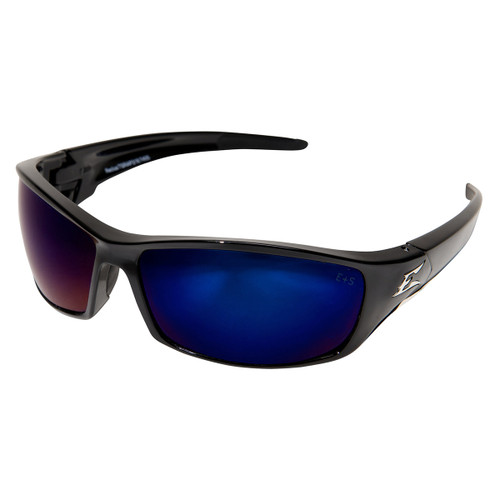 Edge Reclus Safety Glasses with Black Frame - Blue Mirror Lens