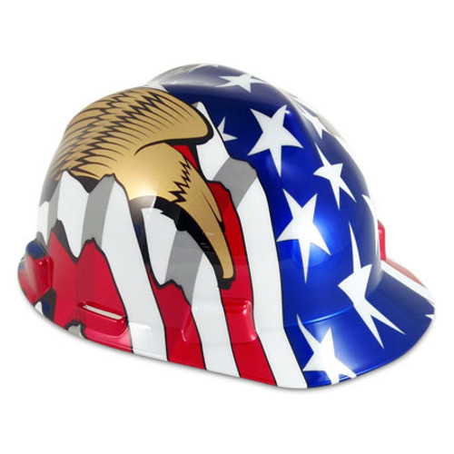 American Flag & Two Eagles Hard Hat
