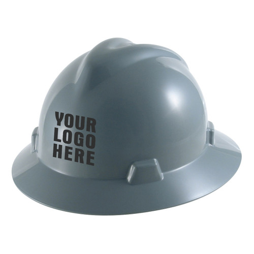 Custom MSA V-Gard Full Brim Fas-Trac III Ratchet Hard Hat