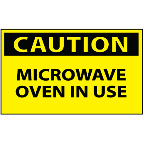 Caution Microwave Oven In Use 3x5 Pressure Sensitive Vinyl Safety Label 5 Per Package