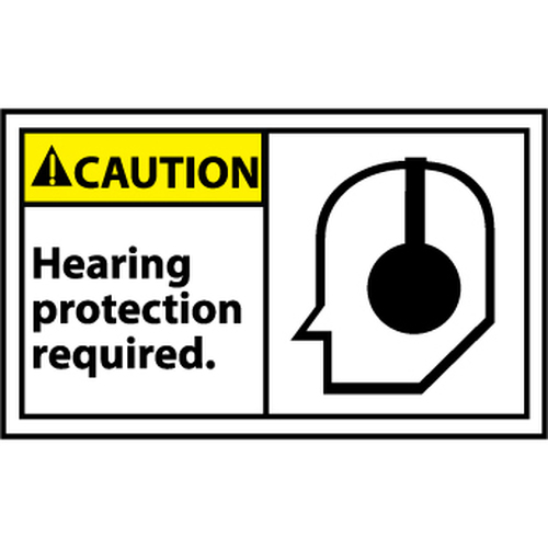 Caution Hearing Protection Required Graphic 3x5 Pressure Sensitive Vinyl Safety Label 5 Per Package