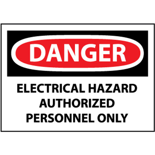 Danger Electrical Hazard Authorized Personnel Only 3x5 Pressure Sensitive Vinyl Safety Label 5 Per Package