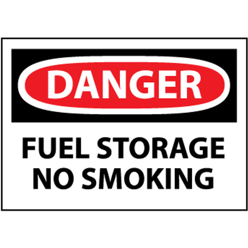 Danger Fuel Storage No Smoking, 10x14 Pressure Sensitive Vinyl Sign