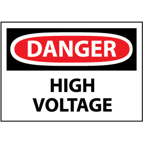 Danger High Voltage 3x5 Pressure Sensitive Vinyl Safety Label 5 Per Package