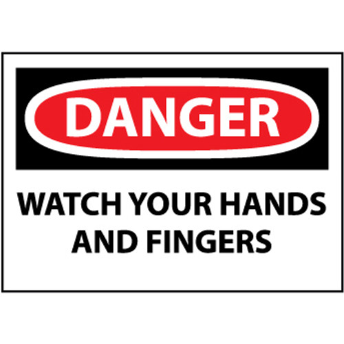 Danger Watch Your Hands And Fingers 3x5 Pressure Sensitive Vinyl Safety Label 5 Per Package