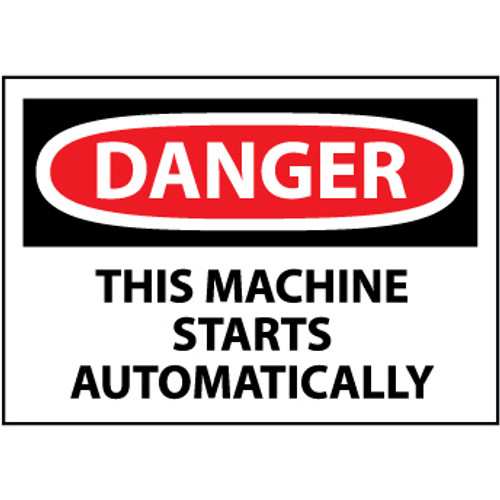 Danger This Machine Starts Automatically, 3x5 Pressure Sensitive Vinyl Label, 5 Per Pack