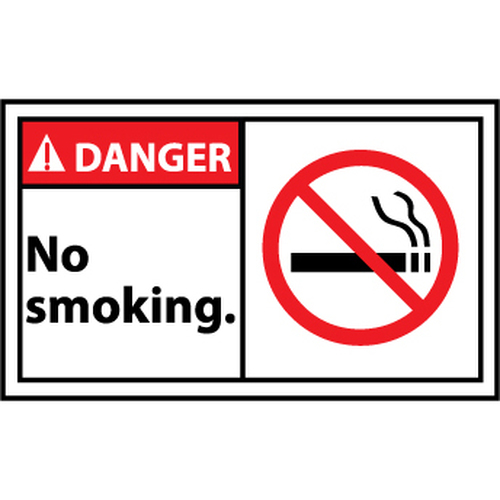 Danger No Smoking Graphic 3x5 Pressure Sensitive Vinyl Label 5 Per Package