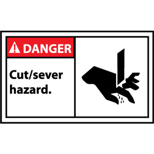 Danger Cut - Sever Hazard Graphic 3x5 Pressure Sensitive Vinyl Label 5 Per Package