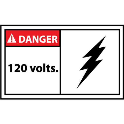 Danger 120 Volts 3x5 Pressure Sensitive Vinyl Safety Label 5 Per Package