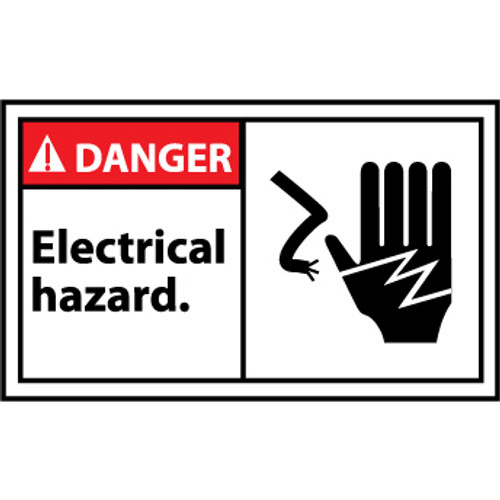 Danger Electrical Hazard Graphic 3x5 Pressure Sensitive Vinyl Label 5 Per Package