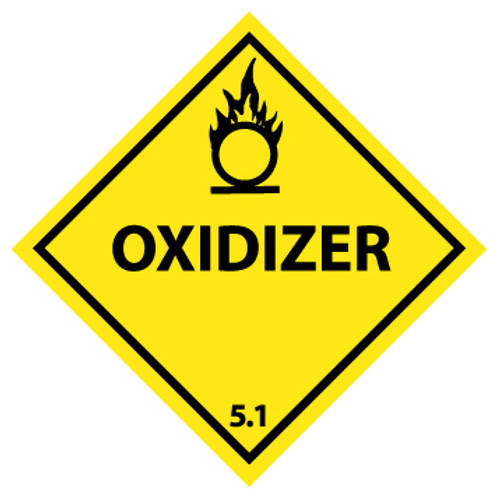 Oxidizer, 4x4, Pressure Sensitive Vinyl, 25 per Pack, DOT Shipping Label