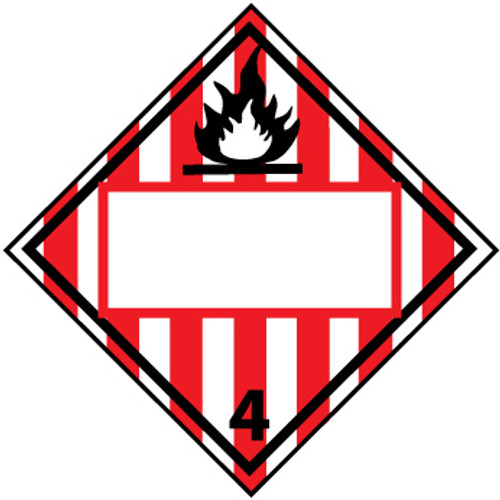 Flammable Solid 4, Blank, 10.75 x 10.75 Plastic Placard