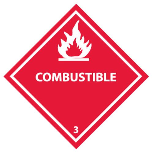 Combustible 3 4x4 Pressure Sensitive Vinyl 25 per Pack DOT Shipping Label