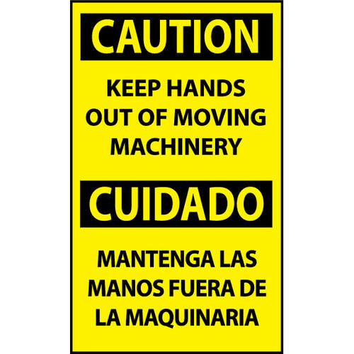 Caution, Keep Hands Out Of Moving Machinery Bilingual, 5x3, Pressure Sensitive Vinyl Machine Label