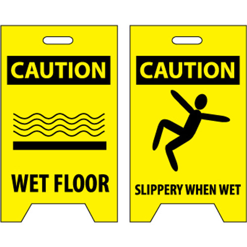 Caution Wet Floor - Caution Slippery When Wet 20x12 Double-Sided Floor Sign