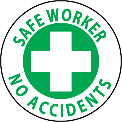 "Safe Worker No Accidents, 2"", Pressure Sensitive Vinyl Hard Hat Emblem, 25 per Pack"