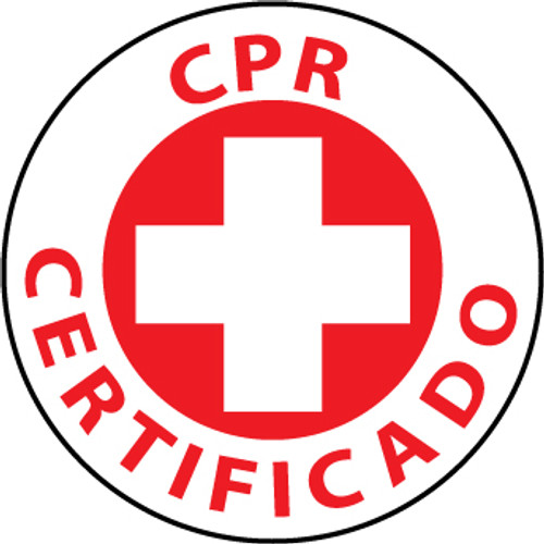 "CPR Certificado, 2"", Pressure Sensitive Vinyl Hard Hat Emblem, 25 per Pack"