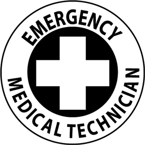 "Emergency Medical Technician, 2"", Pressure Sensitive Vinyl Hard Hat Emblem, 25 per Pack"