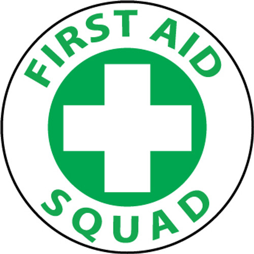 "First Aid Squad, 2"", Pressure Sensitive Vinyl Hard Hat Emblem, 25 per Pack"