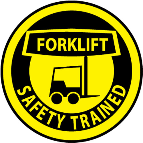 "Forklift Safety Trained, 2"", Pressure Sensitive Vinyl Hard Hat Emblem, 25 per Pack"
