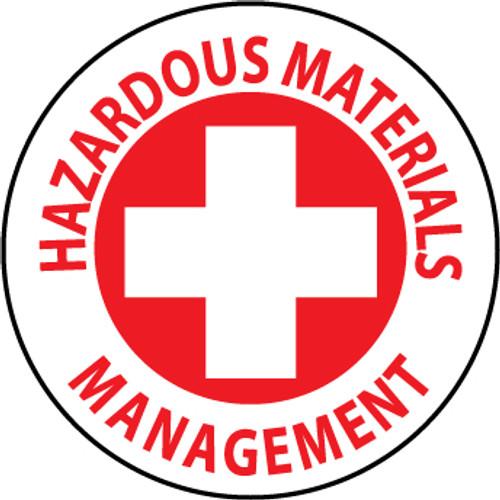 "Hazardous Materials Management, 2"", Pressure Sensitive Vinyl Hard Hat Emblem, Single Sticker"
