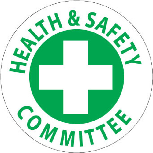 "Health & Safety Committee, 2"", Pressure Sensitive Vinyl Hard Hat Emblem, 25 per Pack"
