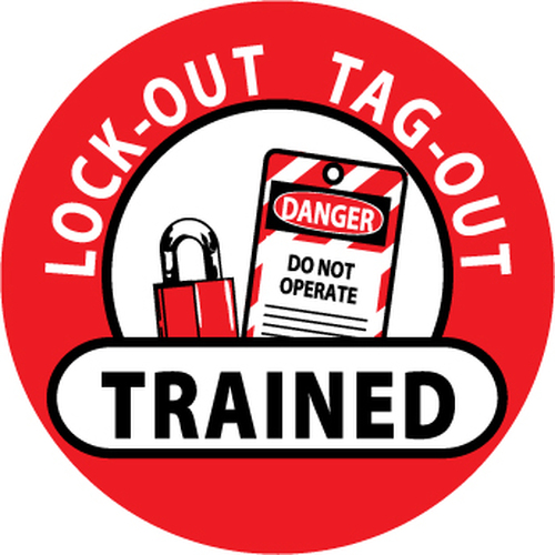 "Lockout Tagout Trained, 2"", Pressure Sensitive Vinyl Hard Hat Emblem, 25 per Pack"