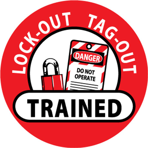"Lockout Tagout Trained, 2"", Pressure Sensitive Vinyl Hard Hat Emblem, Single Sticker"