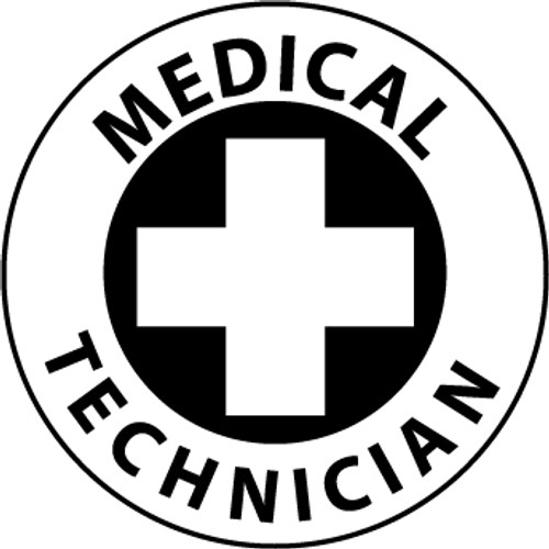 "Medical Technician, 2"", Pressure Sensitive Vinyl Hard Hat Emblem, 25 per Pack"