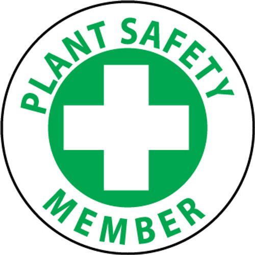 "Plant Safety Member, 2"", Pressure Sensitive Vinyl Hard Hat Emblem, 25 per Pack"