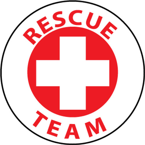 "Rescue Team, 2"", Pressure Sensitive Vinyl Hard Hat Emblem, 25 per Pack"