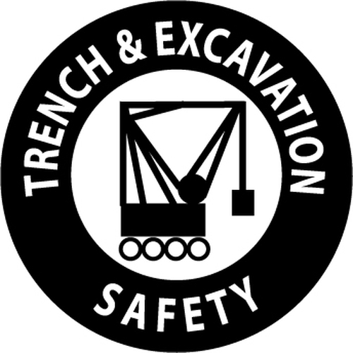 "Trench & Excavation Safety, 2"", Pressure Sensitive Vinyl Hard Hat Emblem, 25 per Pack"