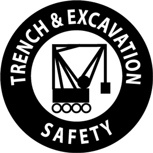 "Trench & Excavation Safety, 2"", Pressure Sensitive Vinyl Hard Hat Emblem, Single Sticker"