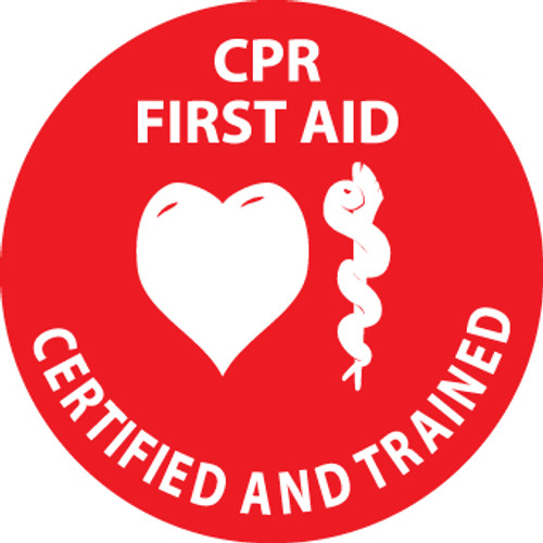 "CPR First Aid Certified and Trained, 2"", Pressure Sensitive Vinyl Hard Hat Emblem, 25 per Pack"