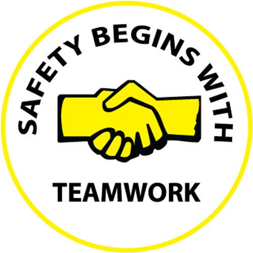 "Safety Begins With Teamwork, 2"", Pressure Sensitive Vinyl Hard Hat Emblem, 25 per Pack"