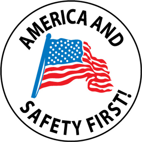 "America And Safety First, 2"", Pressure Sensitive Vinyl Hard Hat Emblem, 25 per Pack"