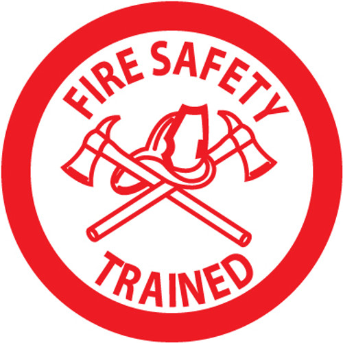 "Fire Safety Trained, 2"", Pressure Sensitive Vinyl Hard Hat Emblem, 25 per Pack"