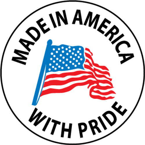 "Made In America With Pride, 2"", Pressure Sensitive Vinyl Hard Hat Emblem, 25 per Pack"