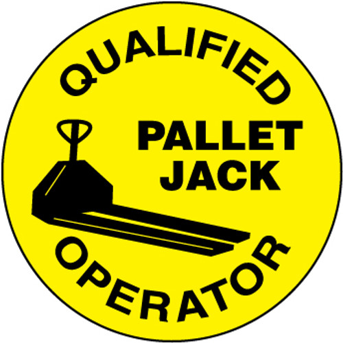 "Qualified Pallet Jack Operator, 2"", Pressure Sensitive Vinyl Hard Hat Emblem, 25 per Pack"