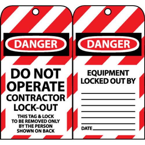 Danger Do Not Operate Contractor Lock-Out 6x3.25 Unrippable Vinyl Lockout Tags, 10 Per Pack