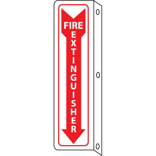 Fire Extinguisher, Double Faced Flanged, 18x4 Sign